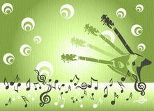 Guitars and musical notes. Abstract colored background with guitar shapes, musical notes and abstract circles Stock Photography