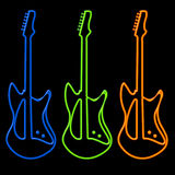 Guitars in Neon. Bright neon blue, green and orange electric guitar silhouettes on black background - hand drawn not trace Stock Images