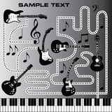 Guitars and piano keyboard. With a dotted maze in black and white.  Also in vector format Stock Images