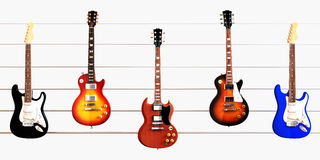 Guitars positioned on fret cords Stock Images