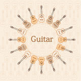 Guitars. Poster with several guitars in a circle Royalty Free Stock Images