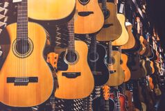 Guitars in Shop stock photography