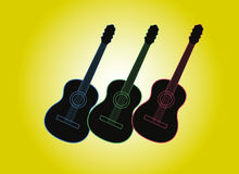 Guitars silhouette with color outlines. Vector illustration. Royalty Free Stock Images