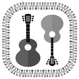 Guitars Silhouettes Isolated. Set of Different Acoustic Guitars Silhouettes Isolated on White Background. Musical Pattern Royalty Free Stock Photography
