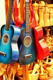 Guitars in a souvenir shop stock photo