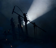 Guitars on stage. Microphone with guitar  with light on music stage Royalty Free Stock Photos