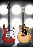 Guitars on stage. Vector illustration of two guitars in font of flood lights on stage Stock Photo