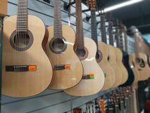 Guitars in the window store mangasine royalty free stock image