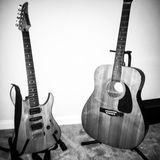Guitars. Yamaha Fender Electric Acoustic Stock Photo
