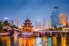 Guiyang, China City Skyline. Guiyang, China skyline at Jiaxiu Pavilion on the Nanming River stock photo