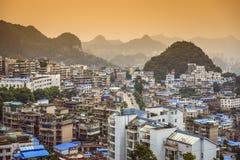 Guiyang, China. Cityscape on the Nanming River stock photo