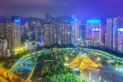 Guiyang, China Cityscape. Over People's Square at night stock photography
