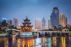 Guiyang, China. Skyline at Jiaxiu Pavilion on the Nanming River Stock Photography