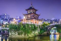 Guiyang, China. Skyline at Jiaxiu Pavilion on the Nanming River stock photo