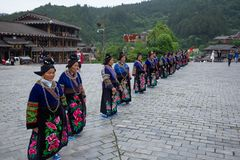 Thousand miao village is a famous old place in guizhou china,a lot of peoples come here everyday stock photos