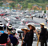 Guizhou miao village scenic area parking lot. The National Day guizhou miao village scenic area parking lot and happy aloha team.Photo taken on: October 1th Stock Photos