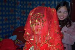 GUIZHOU PROVINCE, CHINA – CIRCA DECEMBER 2017: A bride covered with red wedding veil. royalty free stock photo