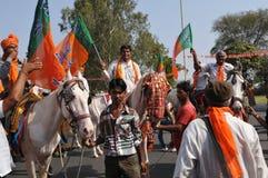 Gujarat: celebração política do partido comunista com mas foto de stock royalty free