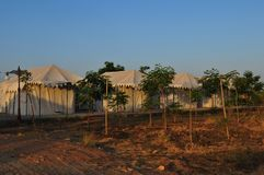 Gujarat: Royal Safari Camp accomodation in the national park Lit. Tle Rann of Kutch a salt-desert area stock images