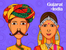Gujarati Couple in traditional costume of Gujarat, India Royalty Free Stock Photo