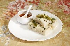 Gujarati Khaman White Dhokla Stock Photo