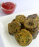 Gujarati Snack Patra. Made up of colocasia leaves and gram flour stock image