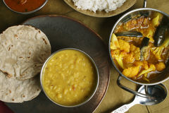 Gujarati Tuvar Dal dish with rice and roti Stock Images