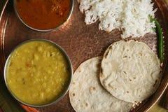 Gujarati Tuvar Dal dish with rice and roti Royalty Free Stock Image