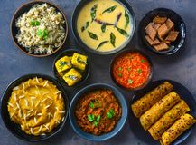 Indian vegetarian winter meals from Gujarat stock photography