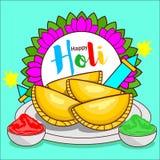 Gujiya vector holi celebration. A gujiya Hindi: गुजिया, also called gujhia, perukiya is a sweet deep-fried dumpling made with suji vector illustration