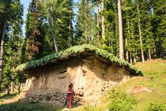 A gujjar house in Pahalgam. A gujjar house on the way to behtab valley in Pahalgam. Kashmir, India Royalty Free Stock Photo