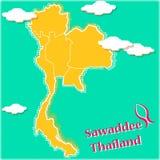 Gul översikt av Thailand med landskapgränser Royaltyfri Bild
