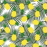 Gul ananas med geometrisk tropisk fruktsommar för trianglar stock illustrationer
