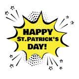Gul anf?randebubbla med lyckligt Sts Patrick dagord Komiska solida effekter i stil f?r popkonst ocks? vektor f?r coreldrawillustr royaltyfri illustrationer