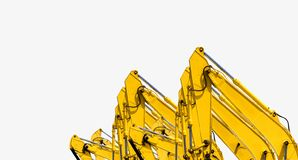 Gul backhoe med den hydrauliska pistongarmen som isoleras p? vit Tung maskin f?r utgr?vning i konstruktionsplats Hydrauliskt mask arkivfoto