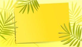 Gul bakgrund för sommar med palmblad Arkivfoton