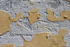 Gul bakgrund för textur för grungeväggsignal Skalad murbruk fotografering för bildbyråer
