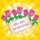 Gul bakgrund med lyckliga rosor - den Alles gutezumen Geburtstag - Fotografering för Bildbyråer