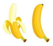 Gul banan på en vit bakgrund Arkivbilder