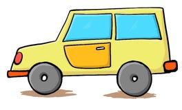 Gul bil- handdrawn tecknad film Arkivfoton