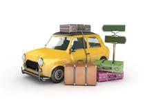 Gul bil och resväskor Arkivbild
