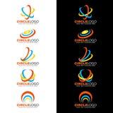 Gul blå orange cirkelvåglinje logovektordesign Royaltyfria Bilder