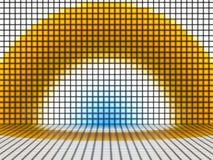 Gul blått- och vitbakgrund med upplysta fyrkanter Fotografering för Bildbyråer