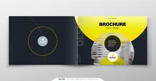 Gul broschyrdesign Horisontalräkningsmall för broschyren, rapport, katalog, tidskrift Orientering med lutningcirkeln stock illustrationer