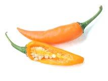 Gul chili för par Arkivfoto