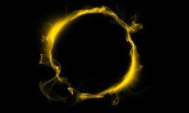 Gul cirkel som består av en rök Det magiska tinget fantasi Fotografering för Bildbyråer