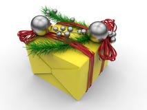 Gul closeup för gåva för vinterferie Royaltyfri Fotografi