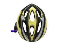 Gul cykelhjälmsäkerhet för cyklistisolering fotografering för bildbyråer