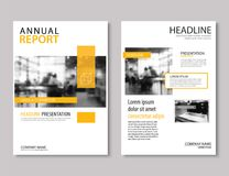 Gul design för format för årsrapportbroschyrmall A4 Vara kan vi stock illustrationer