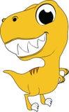 Gul dinosaurie som är lycklig Vektor Illustrationer